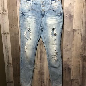 Blue Spice distressed skinny jeans